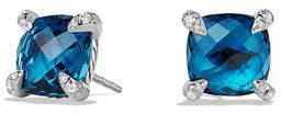 David Yurman 9mm Châtelaine Hampton Blue Topaz Stud Earrings