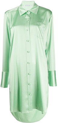 Alexander Wang Shine Wash and Go satin shirt dress