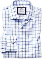 Classic Fit Semi-cutaway Non-iron Business Casual Blue And White Check Cotton Formal Shirt Single Cuff Size 15/33