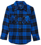 Ralph Lauren Cotton Plaid Western Shirt, Black, Size 2-7