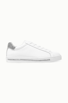 Rene Caovilla Crystal-embellished Leather And Suede Sneakers - White