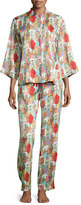 Natori Dynasty Pearl-Print Pajama Set, Red/Multicolor