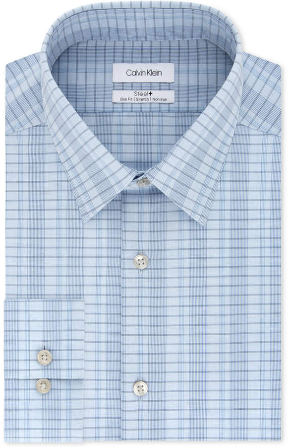Calvin Klein Men Steel Slim-Fit Non-Iron Performance Stretch Blue Check Dress Shirt