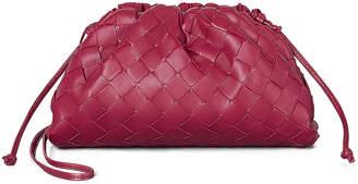 Bottega Veneta Leather The Pouch 20 Clutch Bag in Amaranto & Gold | FWRD