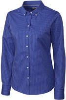 Cutter & Buck Blue Pinstripe Epic Easy Care Broken Twill Button-Up - Plus Too