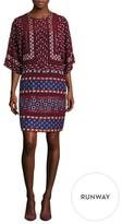 BCBGMAXAZRIA Jelena Silk Embroidered Shift Dress
