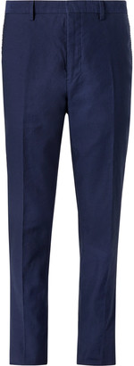 Mr P. Navy Slim-Fit Cotton And Linen-Blend Twill Trousers