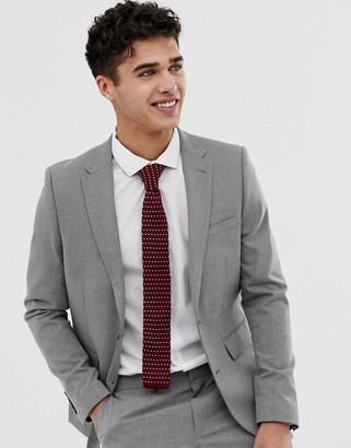 Burton Menswear skinny fit suit jacket in light grey