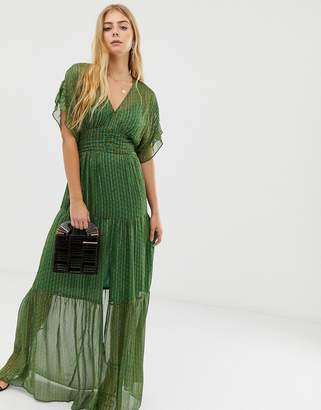 BA&SH Wanda tiered glitter thread maxi dress-Green