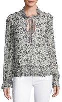 Rebecca Minkoff Edina Floral-Print Tie-Neck Blouse, Black/White