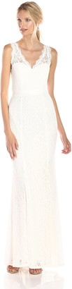 Adrianna Papell Women's Sleeveless Lace Gown with Illusion V-Neckline