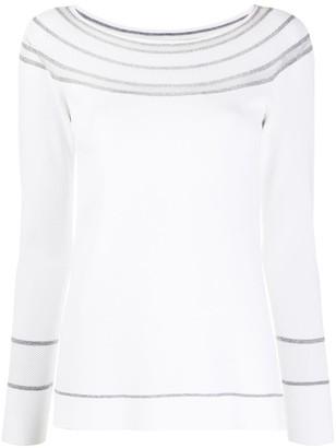 D-Exterior Striped-Collar Long Sleeve Top