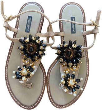 Dolce & Gabbana Beige Suede Sandals