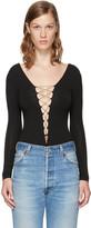 Alexander Wang Black Lace-up Bodysuit