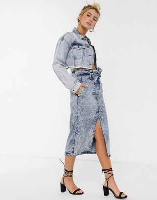 Asos DESIGN denim acid wash midi skirt