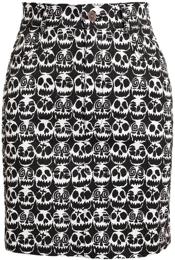 Jeremy Scott Skull Printed Denim Miniskirt