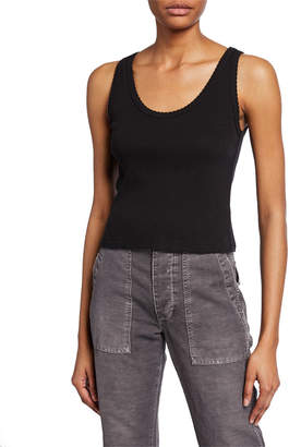 Amo Denim Scalloped Cropped Ribbed Tank