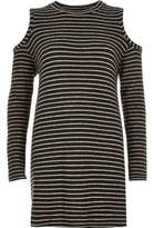 River Island Womens Black stripe cold shoulder top