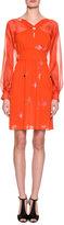 Giorgio Armani Floral-Print Silk Georgette Long-Sleeve Dress, Orange