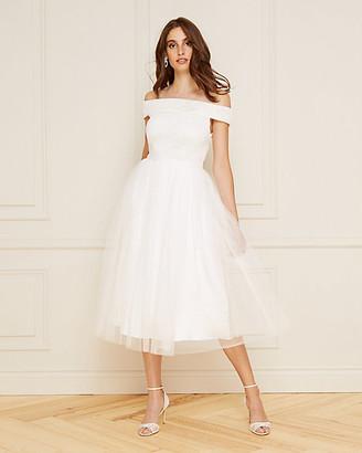 Le Château Lace & Mesh Off-the-Shoulder Dress