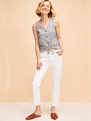 Old Navy Mid-Rise Boyfriend Straight White Jeans for Women