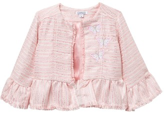 Flapdoodles 3/4 Ruffle Sleeve Tweed Jacket (Toddler & Little Girls)