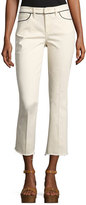 Tory Burch Sara Boot-Fit Cropped Jeans, Off White
