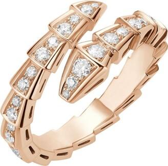 Bvlgari Rose Gold and Diamond Serpenti Ring