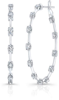 Rahaminov Diamonds 18k White Gold Diamond Bar Hoop Earrings