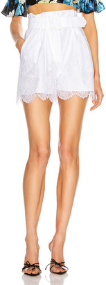 Self-Portrait Lace Shorts in White   FWRD