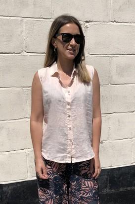 Crossley Pink Less Sleeveless Linen Shirt - Xsmall
