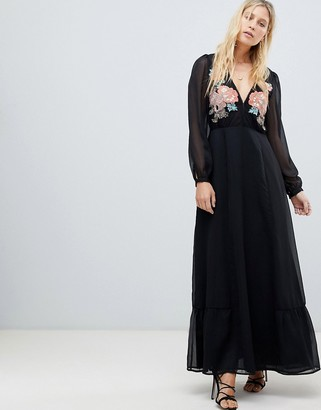 Cleobella Amarylis embroidered maxi dress-Black