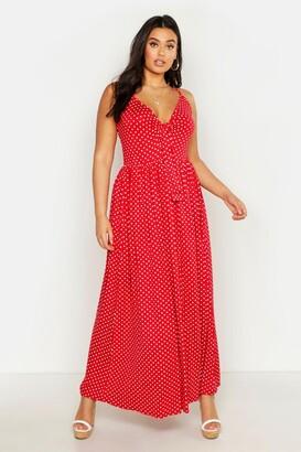 boohoo Plus Polka Dot Strappy Knot Front Maxi Dress