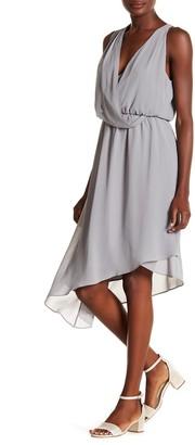 Haute Hippie Asymmetrical Hem Surplice Neck Dress