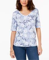 Karen Scott Petite V-Neck Elbow-Sleeve Top, Created for Macy's