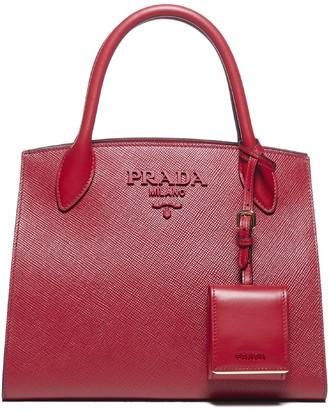 Prada Small Logo Saffiano Tote Bag