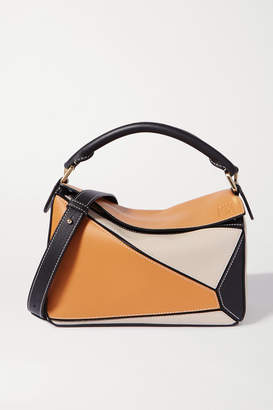 Loewe Puzzle Small Color-block Textured-leather Shoulder Bag - Neutral