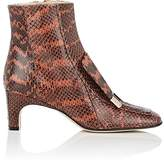 Sergio Rossi WOMEN'S SQUARE-TOE SNAKESKIN ANKLE BOOTS