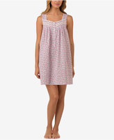 Eileen West Lace-Trimmed Printed Cotton Chemise