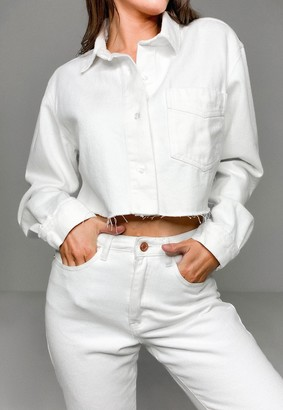 Missguided White Co Ord Oversized Cropped Denim Shirt