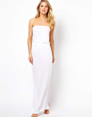 Asos Design Bandeau Jersey Maxi Beach Dress-White