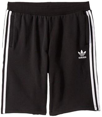 Adidas Originals Kids Fleece Shorts (Little Kids/Big Kids) (Black/White) Boy's Shorts