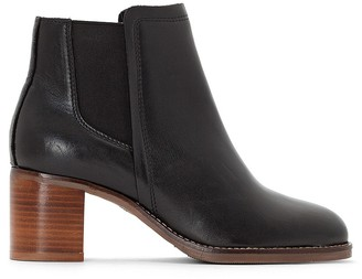 La Redoute Collections Leather Chelsea Ankle Boots with Crepe Effect Sole