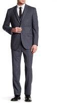 English Laundry Trim Fit Blue Woven Notch Lapel Two Button Wool Suit with Vest