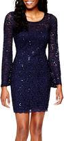My Michelle Bell-Sleeve Scalloped-Hem Glitter Lace Dress- Juniors