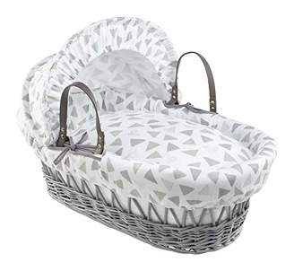 Clair De Lune Sparkling Muslin Grey Wicker Moses Basket