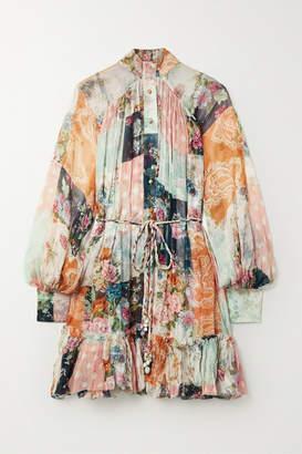 Zimmermann Wavelength Printed Silk-crepon Mini Dress - Orange