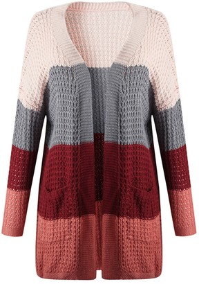 Goodnight Macaroon 'Jenna' Waffle Knit Colorblock Cardigan (3 Colors)