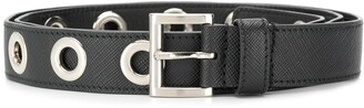 Prada Eyelet-Embellished Buckled Belt