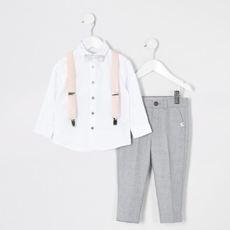 River Island Mini boys Grey trousers and braces outfit